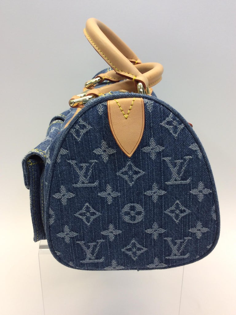 6d50cfd88447 Louis Vuitton Blue Denim Monogram Speedy Bag  499 Made in France Denim and  Leather 11.5