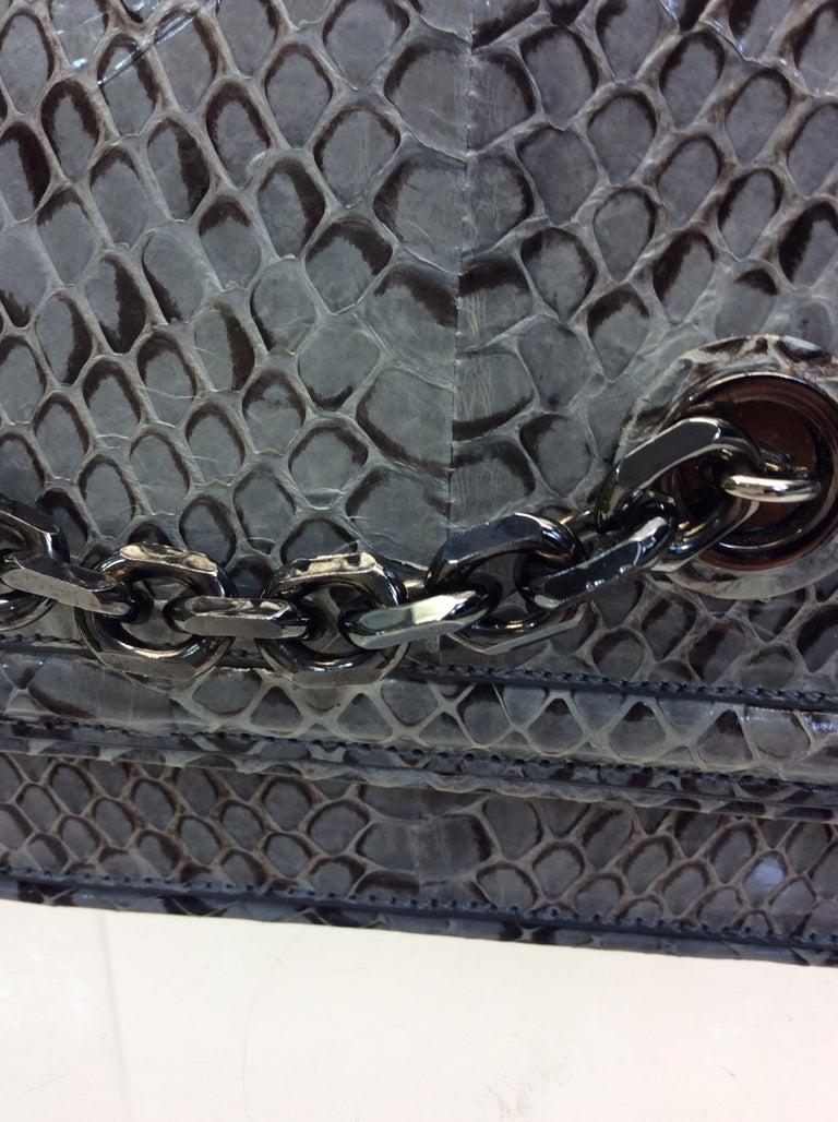 Women's Judith Leiber Grey Snake Skin Clutch NWT For Sale