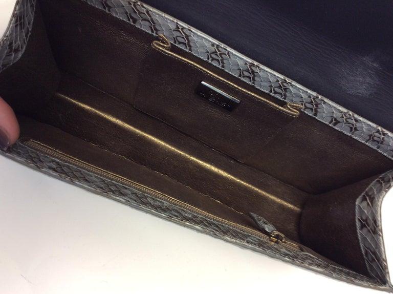 Judith Leiber Grey Snake Skin Clutch NWT For Sale 2