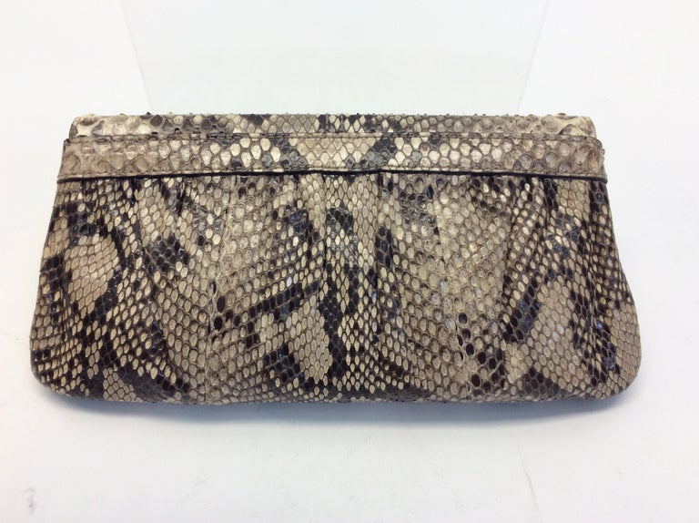 Beige Gucci Tan and Brown Snake Skin Clutch  For Sale