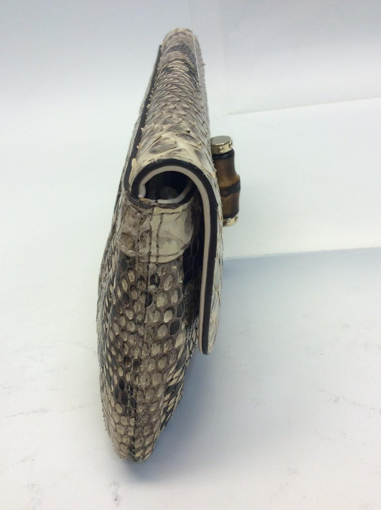 Gucci Tan and Brown Snake Skin Clutch  In Good Condition For Sale In Narberth, PA