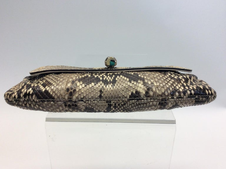 Women's Gucci Tan and Brown Snake Skin Clutch  For Sale