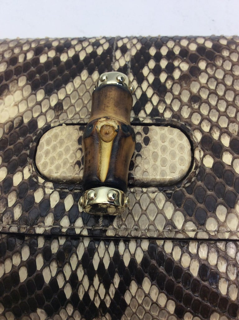Gucci Tan and Brown Snake Skin Clutch  For Sale 1