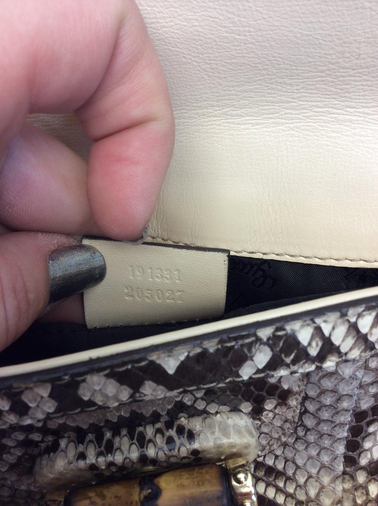 Gucci Tan and Brown Snake Skin Clutch  For Sale 4