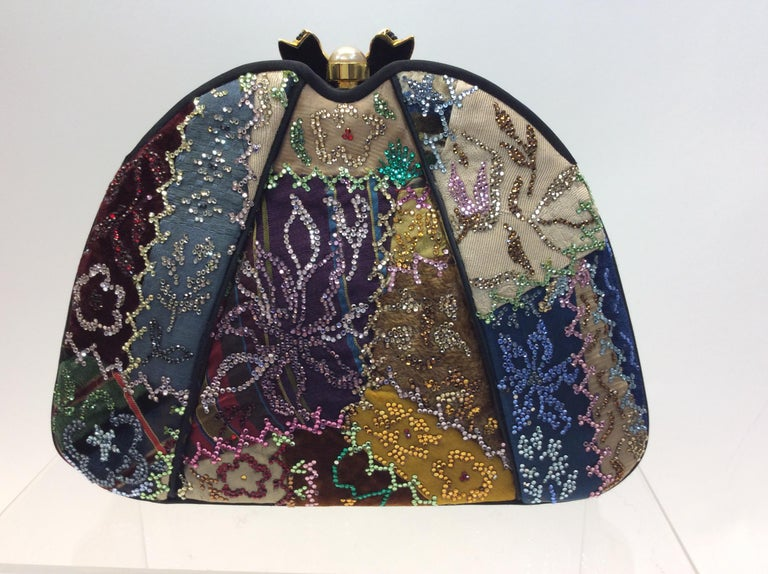 Judith Leiber Black Silk Beaded Clutch In Good Condition For Sale In Narberth, PA