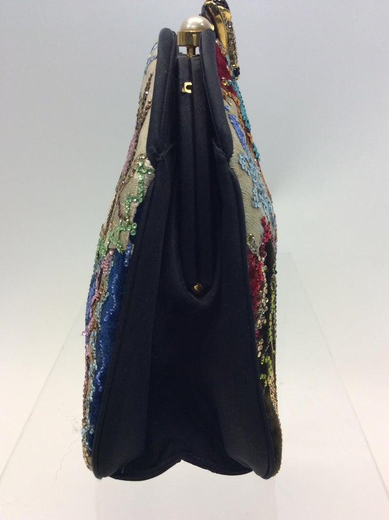 Women's Judith Leiber Black Silk Beaded Clutch For Sale