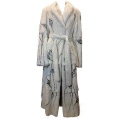 Neiman Marcus White Mink Stencil Long Fur Coat