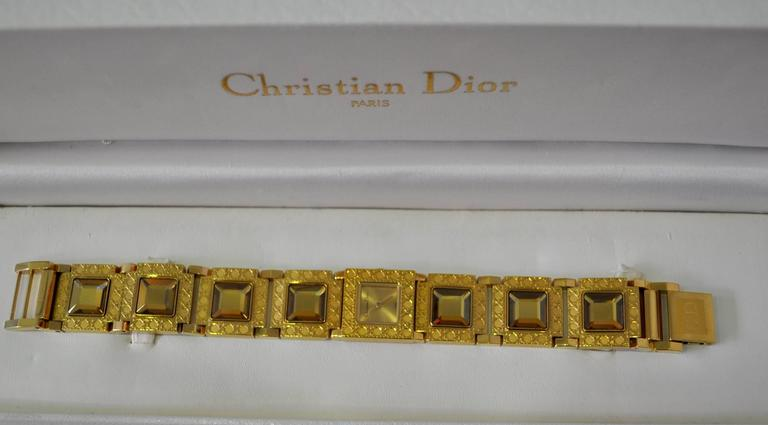 Art Deco Authentic Christian Dior Jewel Encrusted Gold Tone Link Watch For Sale