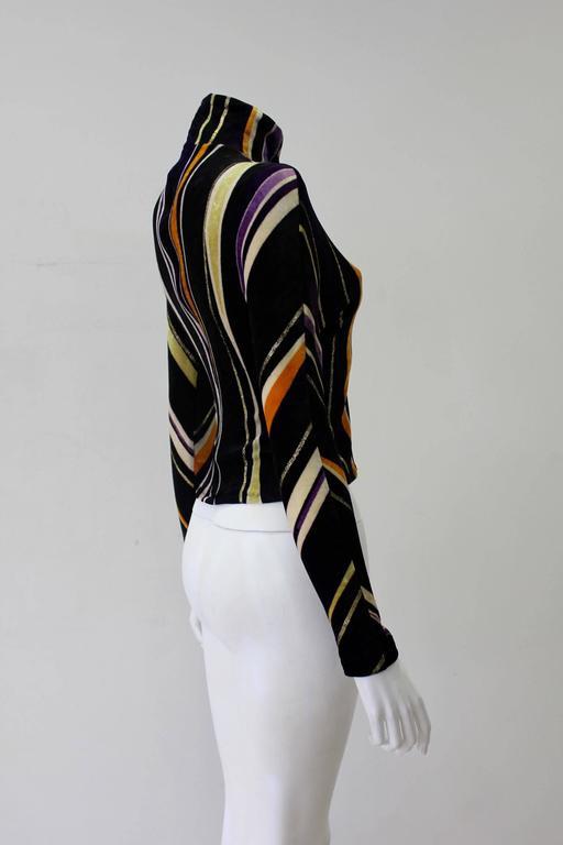 Gianni Versace Velvet Stripe High Neck Top Fall 1994 2