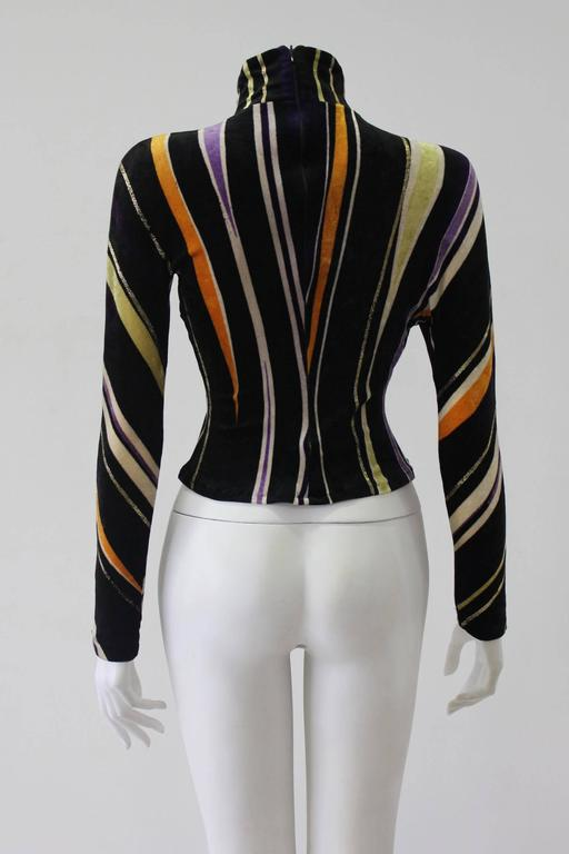 Gianni Versace Velvet Stripe High Neck Top Fall 1994 In New Never_worn Condition For Sale In Athens, Agia Paraskevi