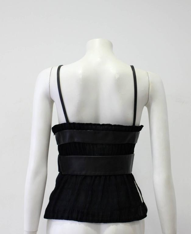 Unique Gianni Versace Couture Chiffon Pleated Leather Panelled Bodice 1996 In New Never_worn Condition For Sale In Athens, Agia Paraskevi
