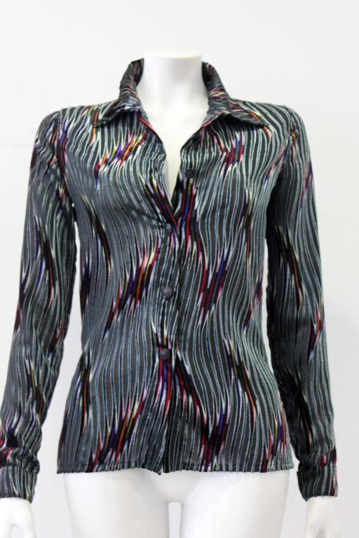 Rare Istante By Gianni Versace Sheer Velvet Shirt Fall/Winter 199 4