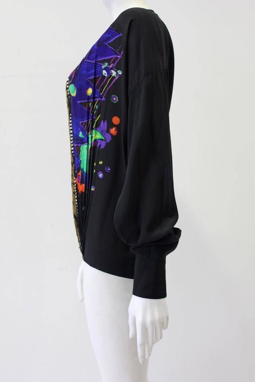 Very Rare Gianni Versace Silk Plisse Printed Shirt Fall 1989 3