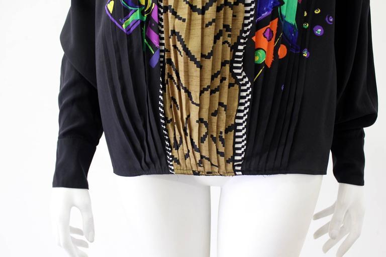 Very Rare Gianni Versace Silk Plisse Printed Shirt Fall 1989 4