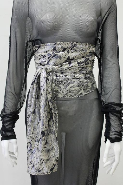 Black Early Gianni Versace Silk Lame Printed Belt Spring 1983 For Sale