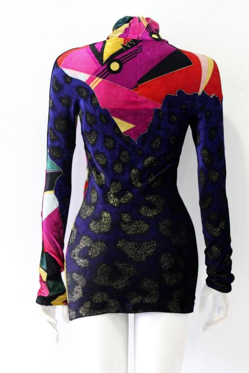 Unique Gianni Versace Couture Print Velvet Stretch Mini Dress Fall 1994 3