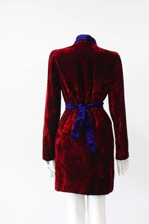 Black Istante By Gianni Versace Crushed Velvet Evening Coat Fall/Winter 1997 For Sale
