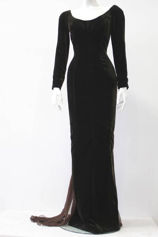 Museum Quality Gianfranco Ferre Silk Velvet Panel Evening Gown 1989 2