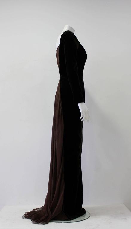 Museum Quality Gianfranco Ferre Silk Velvet Panel Evening Gown 1989 3