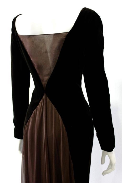 Museum Quality Gianfranco Ferre Silk Velvet Panel Evening Gown 1989 4