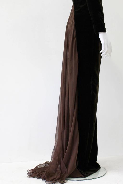 Museum Quality Gianfranco Ferre Silk Velvet Panel Evening Gown 1989 5