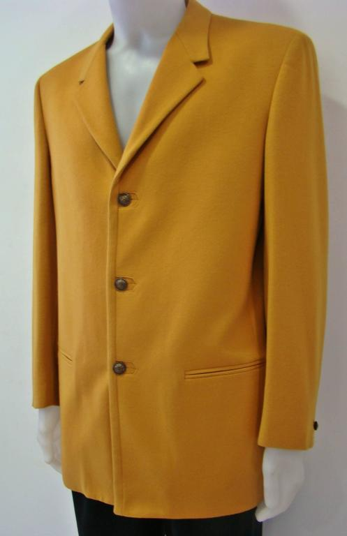 Brown Rare Gianni Versace Mustard Wool Jacket For Sale