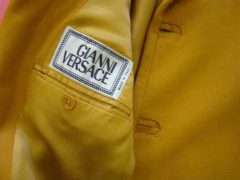 Rare Gianni Versace Mustard Wool Jacket For Sale 2