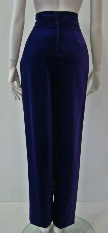 Rare Gianni Versace High Waist Velvet Pants Fall 1989 In New Never_worn Condition For Sale In Athens, Agia Paraskevi