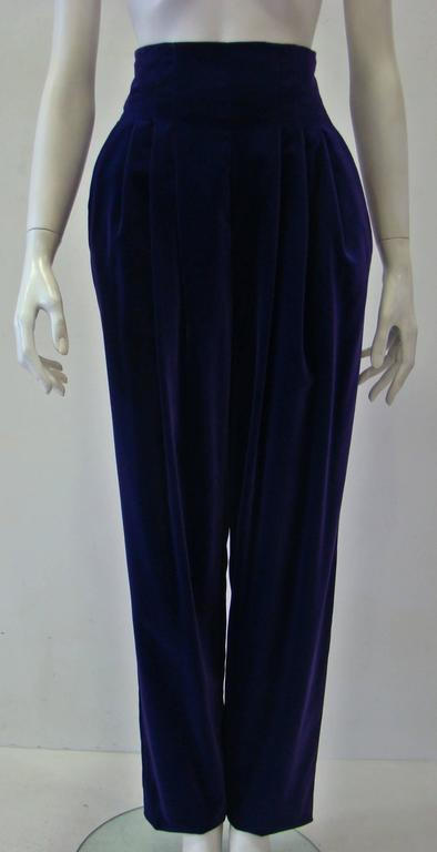 Rare Gianni Versace High Waist Purple Velvet Pants Fall 1989