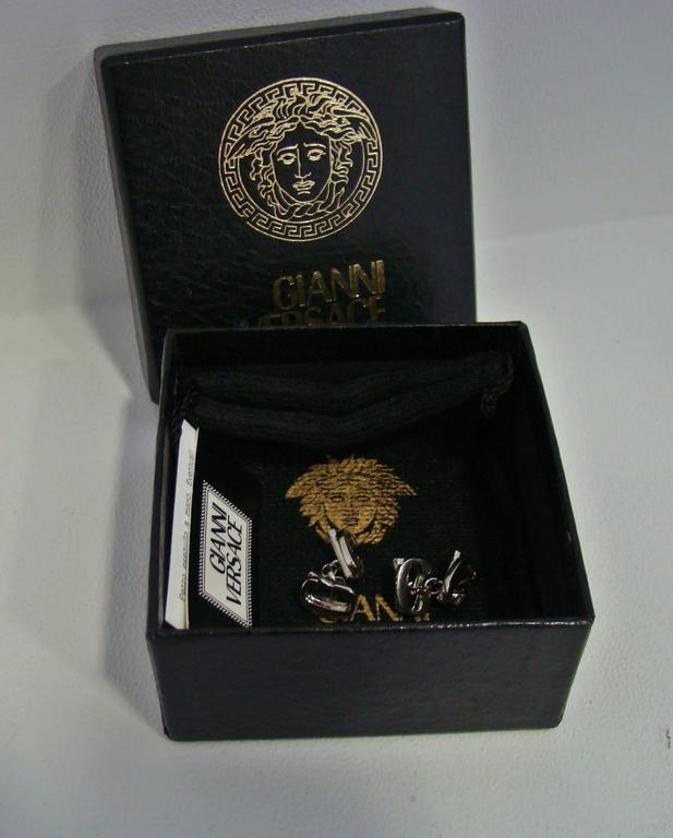 Gianni Versace Silver Cufflinks 1990's For Sale 4