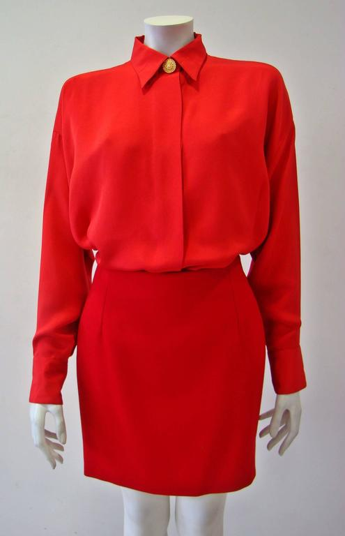 Gianni Versace Couture Red Silk Shirt 4