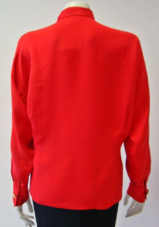 Gianni Versace Couture Red Silk Shirt 2