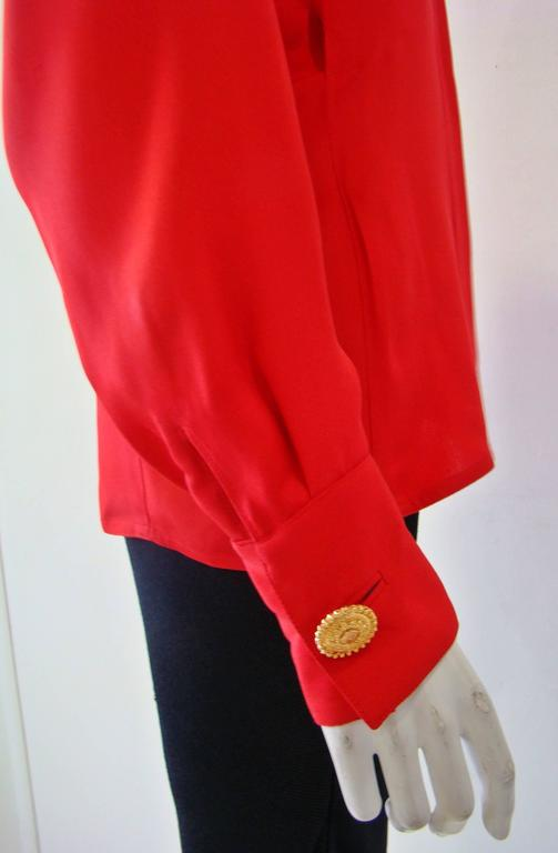 Gianni Versace Couture Red Silk Shirt 3