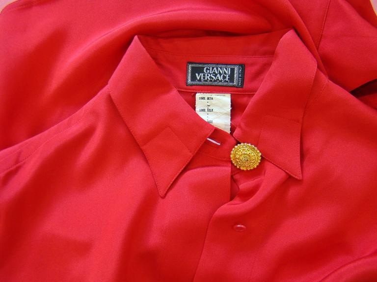Gianni Versace Couture Red Silk Shirt 5
