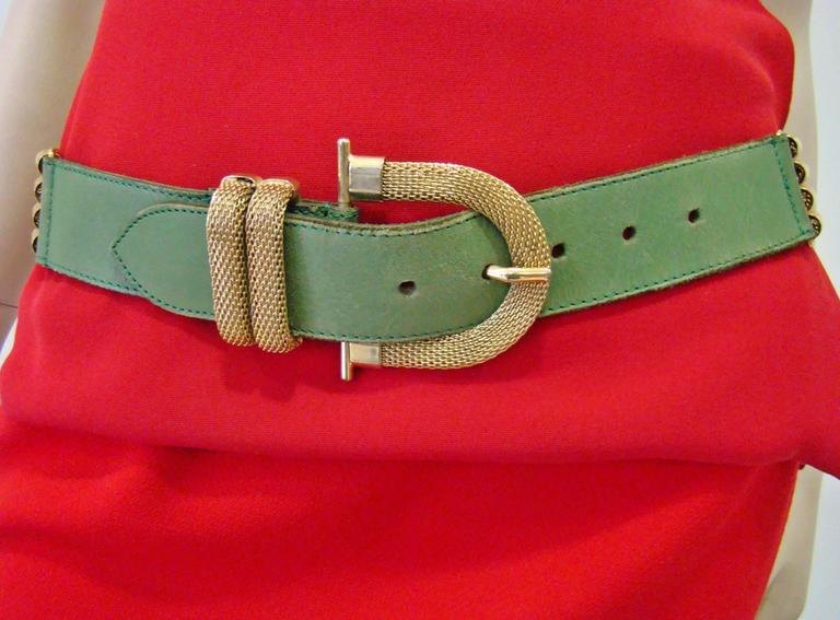 Doppia Vita Green Leather And Gold Chain Belt 1980's.