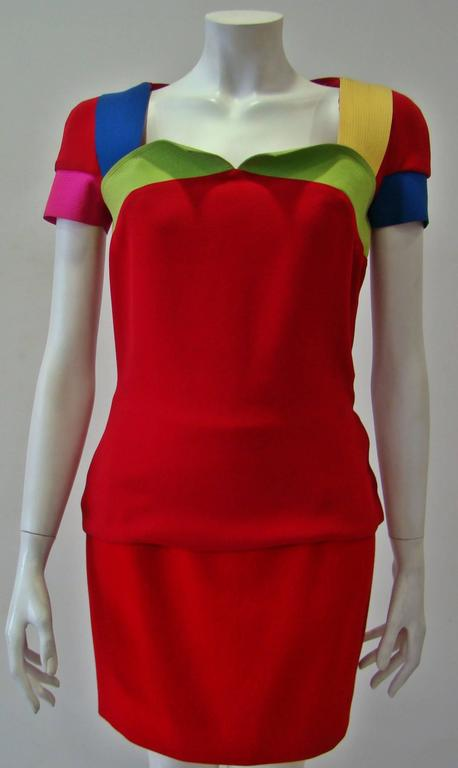 Rare Gianni Versace Couture Silk Tunic Color-Block Top Spring 1991 2