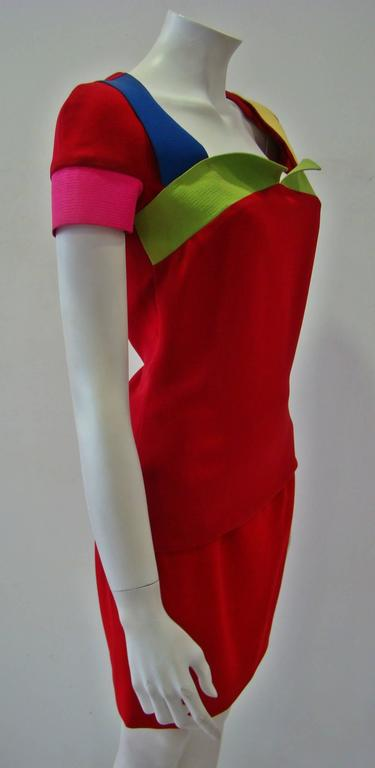 Rare Gianni Versace Couture Silk Tunic Color-Block Top Spring 1991 3