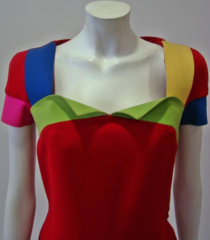 Rare Gianni Versace Couture Silk Tunic Color-Block Top Spring 1991 5