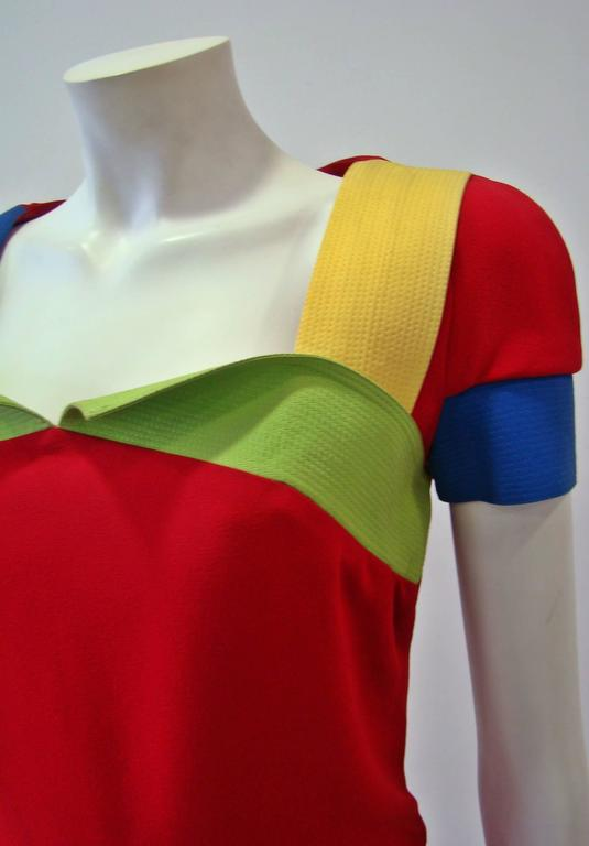 Rare Gianni Versace Couture Silk Tunic Color-Block Top Spring 1991 6