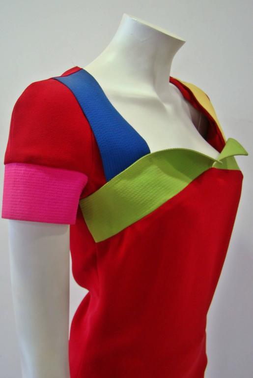 Rare Gianni Versace Couture Silk Tunic Color-Block Top Spring 1991 7
