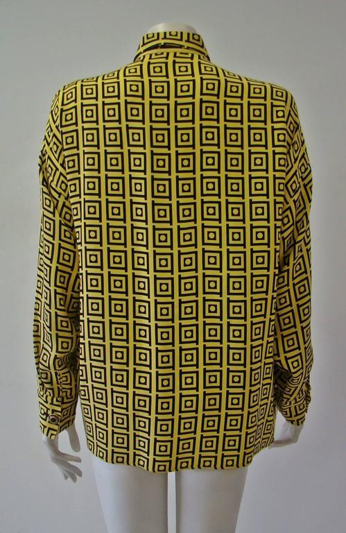 Gianni Versace Optical Silk Crepe De Chine Printed Shirt Fall 1991 4