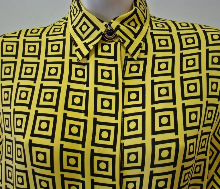 Gianni Versace Optical Silk Crepe De Chine Printed Shirt Fall 1991 3