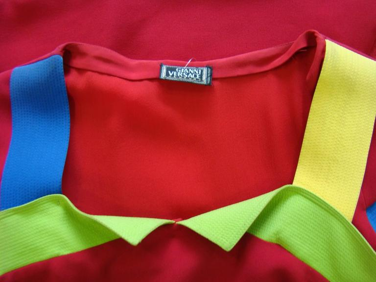 Rare Gianni Versace Couture Silk Tunic Color-Block Top Spring 1991 8