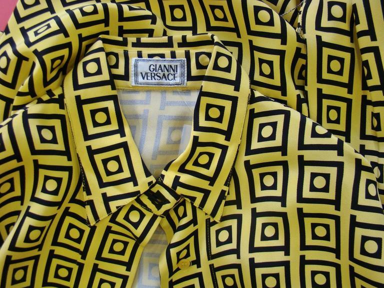 Gianni Versace Optical Silk Crepe De Chine Printed Shirt Fall 1991 5