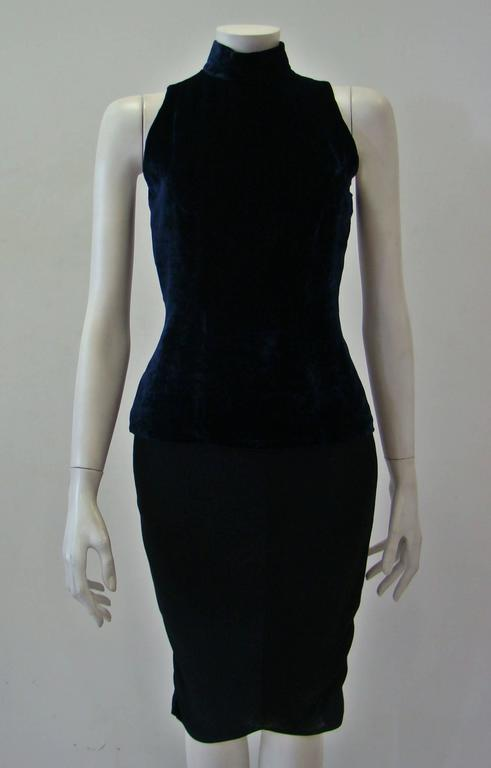 Angelo Mozzillo Navy Blue Velvet Sleeveless Top 2