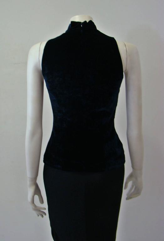 Angelo Mozzillo Navy Blue Velvet Sleeveless Top 5