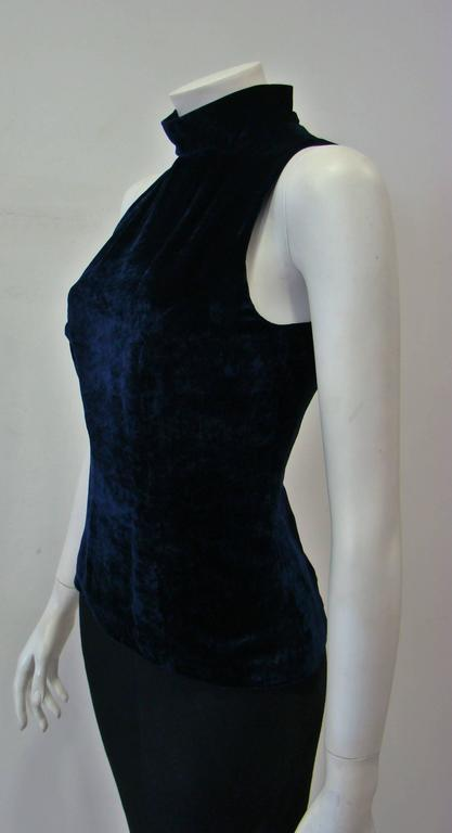 Angelo Mozzillo Navy Blue Velvet Sleeveless Top 4