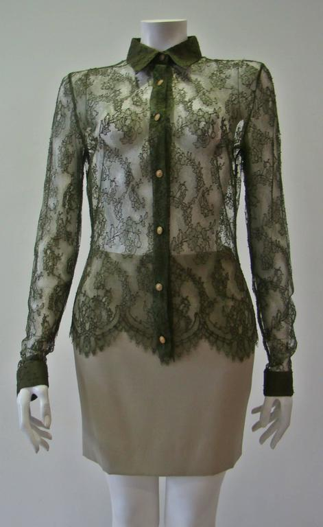 Istante By Gianni Versace Lace Sheer Shirt 2