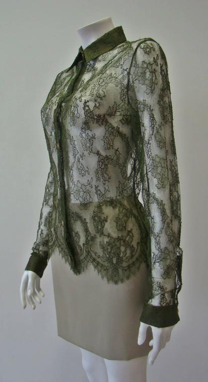 Istante By Gianni Versace Lace Sheer Shirt 5