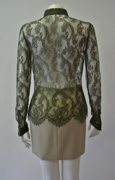 Istante By Gianni Versace Lace Sheer Shirt 6
